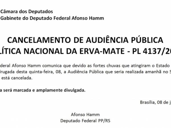 Cancelamento de Audiência Pública